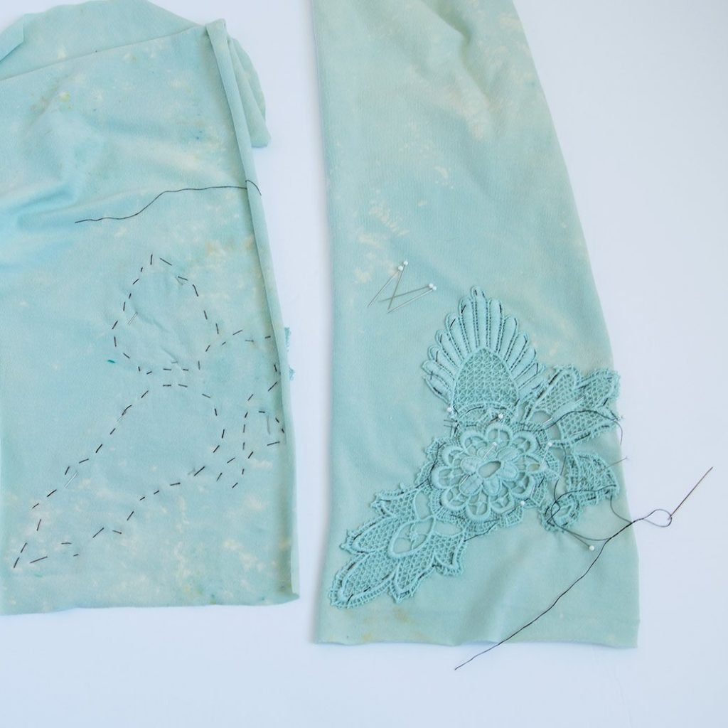 basting lace to sleeves