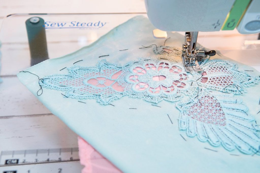 stitching lace to sleeves