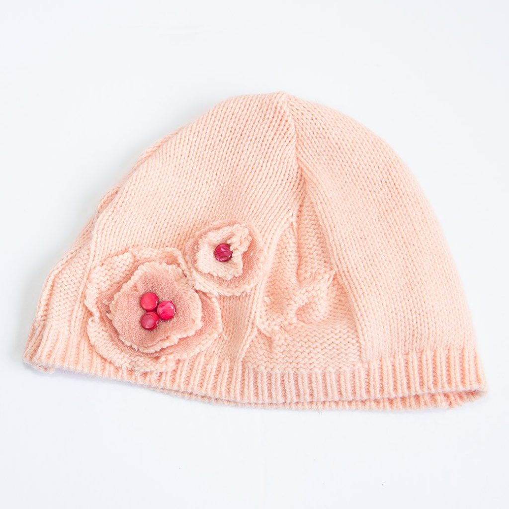 sweater hat with beaded flower embellishment