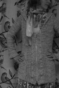 belted cardigan into a zippered jacket