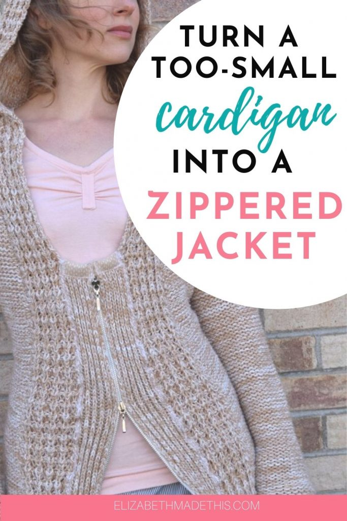 How to turn a belted cardigan into a zippered jacket and stay warm