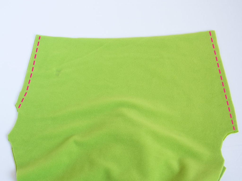 sewing front and back seams on diy fleece leggings