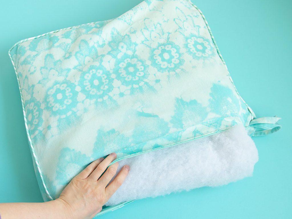 adding wrapped foam to diy chair cushion