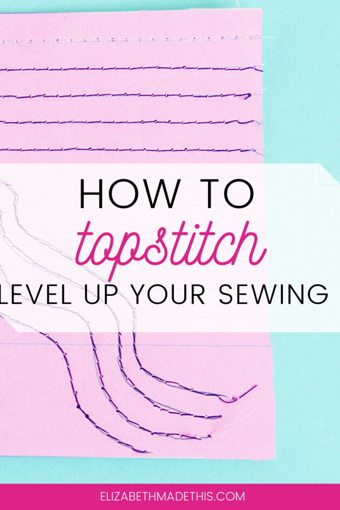 "Pinterest image: ""How to topstitch"" with topstitched paper"