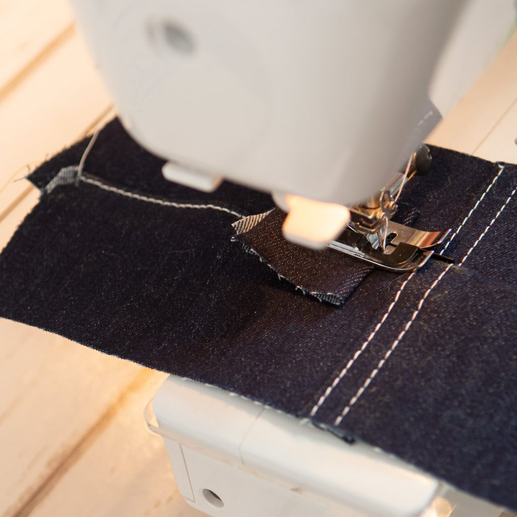 scrap of fabric under back of presser foot