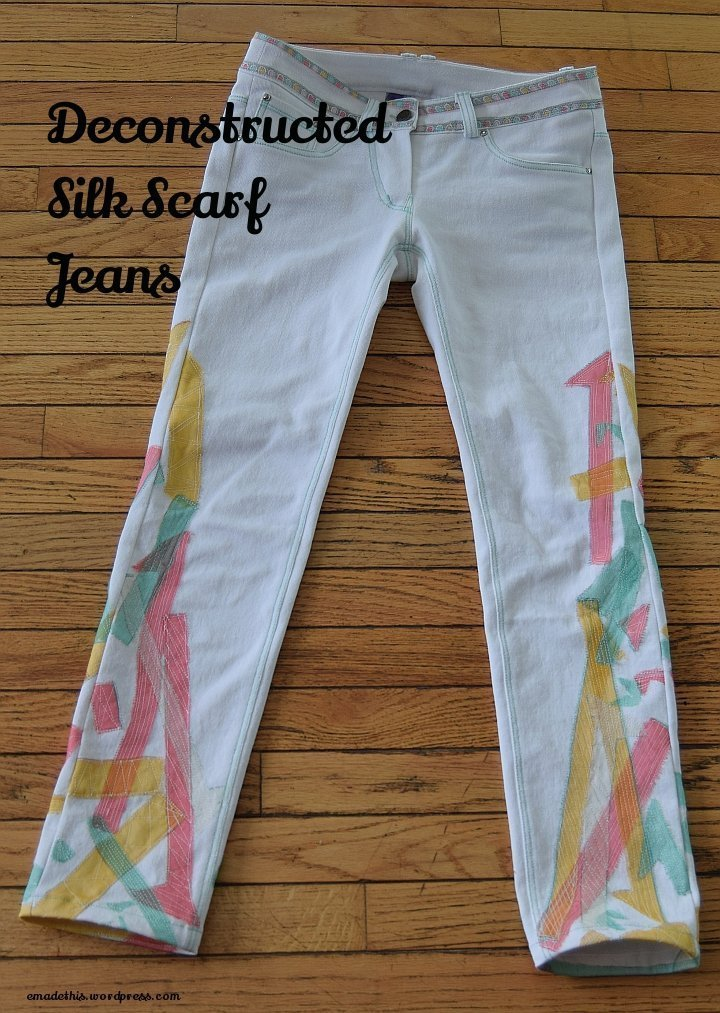 Deconstructed Silk Scarf Jeans: Elizabeth Made This