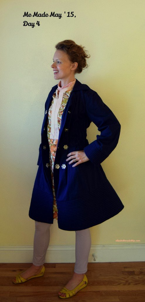 navy smocked quilted jacket with giant snaps
