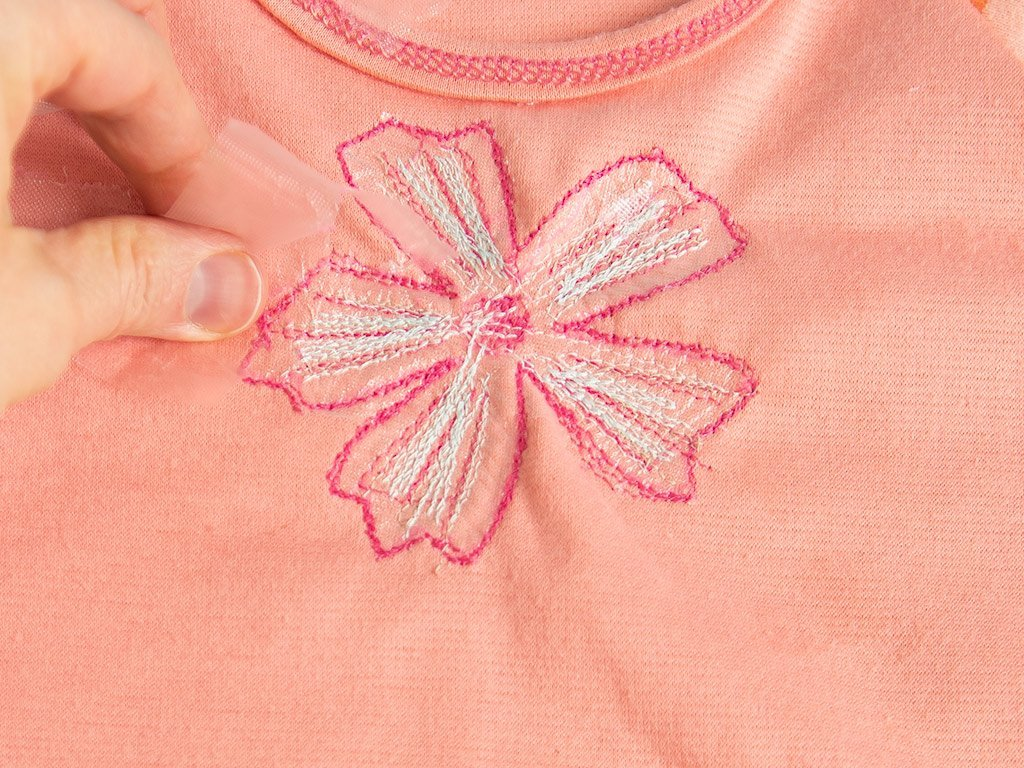 removing stabilizer from t-shirt embroidery