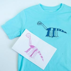 kids' drawing + embroidered t-shirt