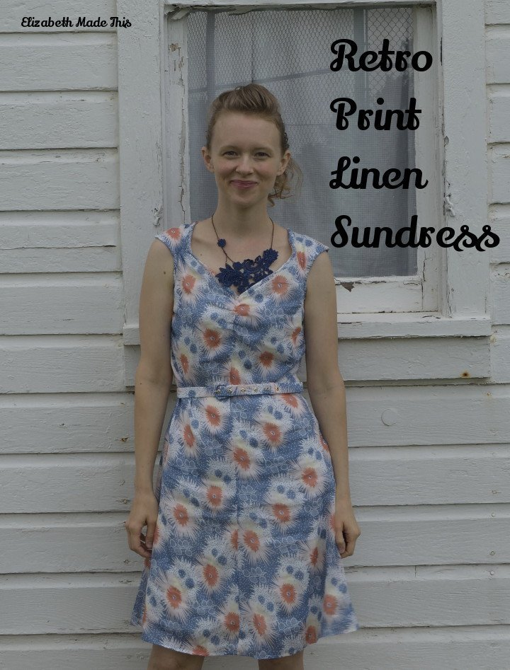 retro linen print sundress