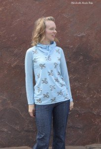 Add a drawstring cowl to a t-shirt