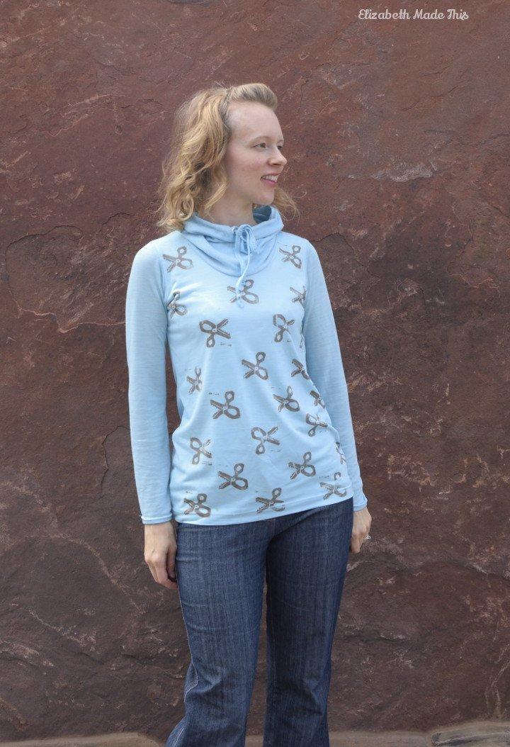 add a drawstring cowl to a t-shirt