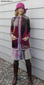Velvet trimmed cardigan and flat piping knit skirt
