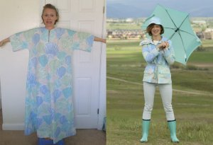 Double collar rain jacket from a caftan