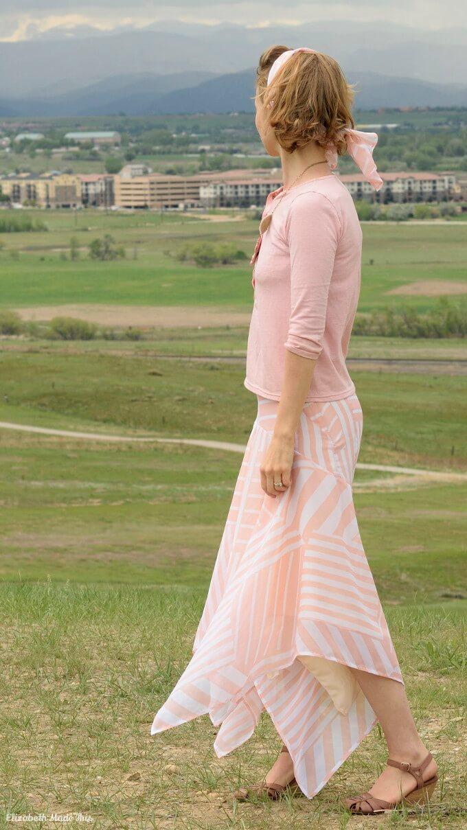 peach chiffon skirt