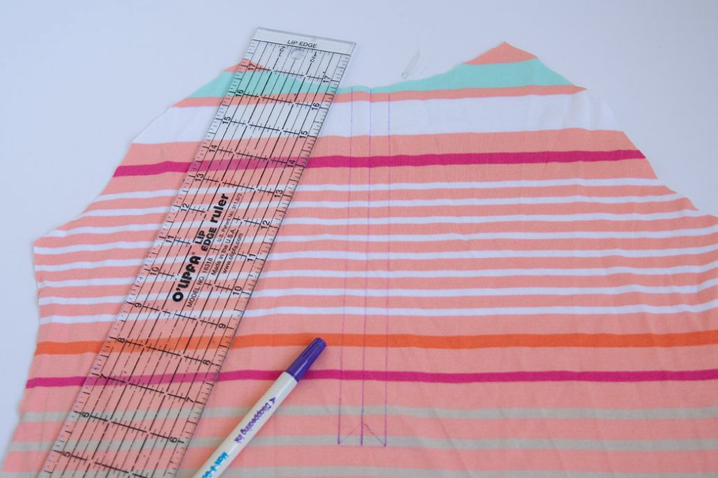 marking front for how to sew a henley t-shirt