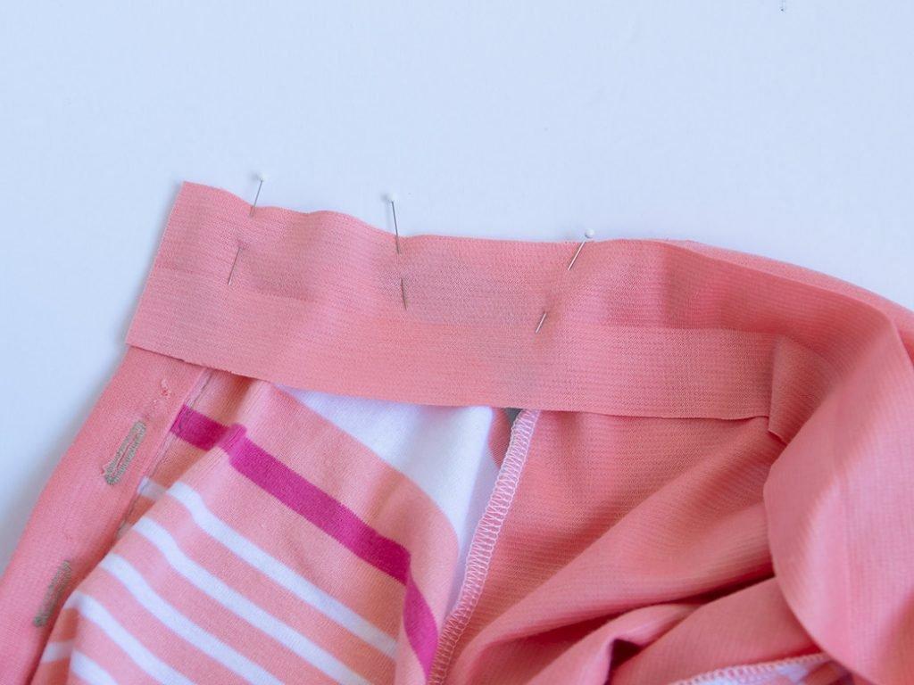 pinning neckband to henley