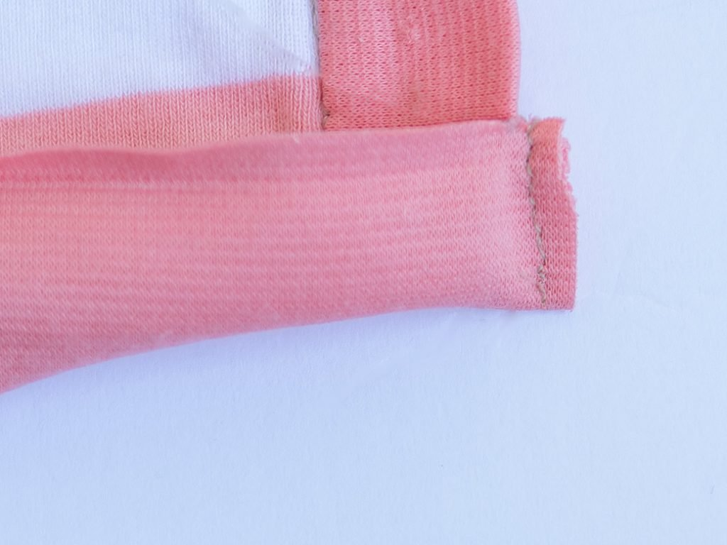 sewing ends of neckband together