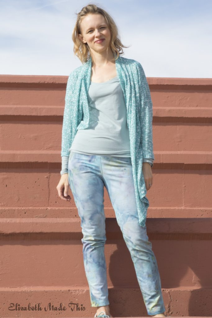Ice Dyed jeggings and DG Patterns Grace cardigan