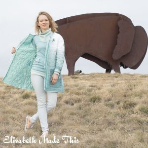 DIY Quilted coat from ombre curtain