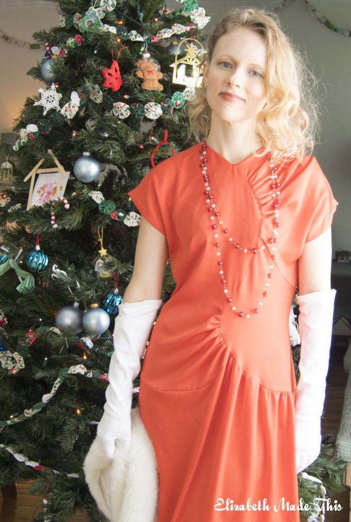 Vintage Vogue red crepe dress