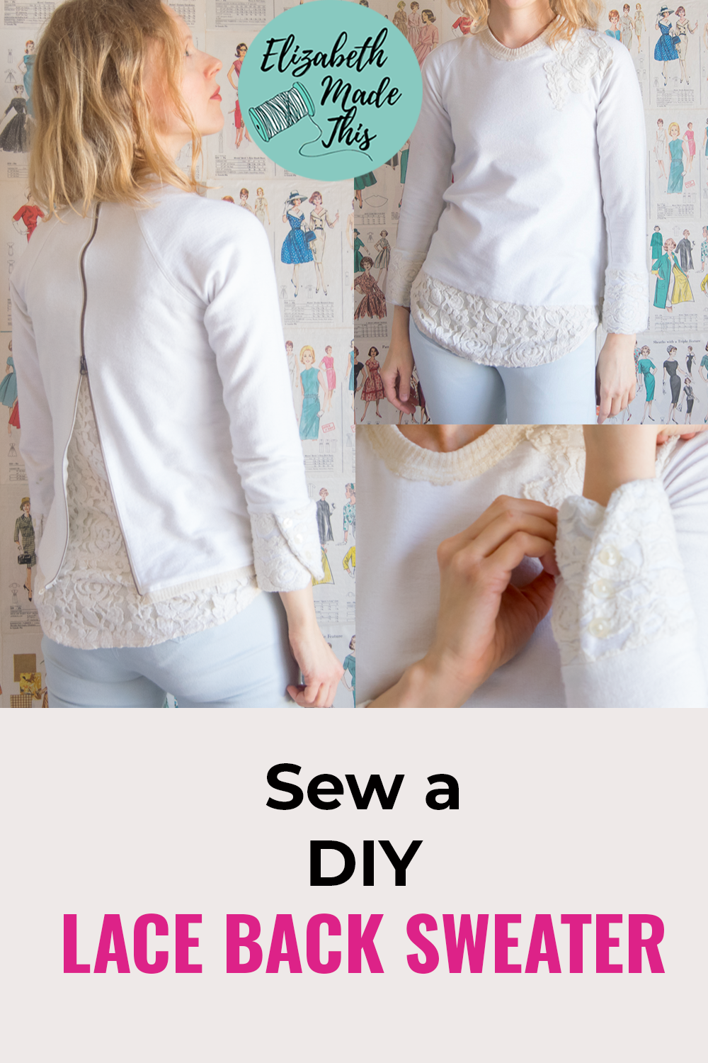 Pinterest image of lace back sweater