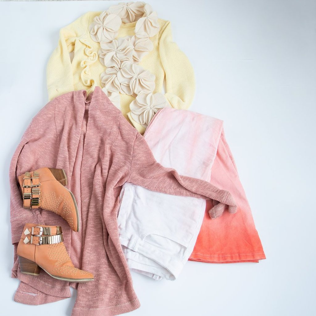 pink and yellow capsule wardrobe