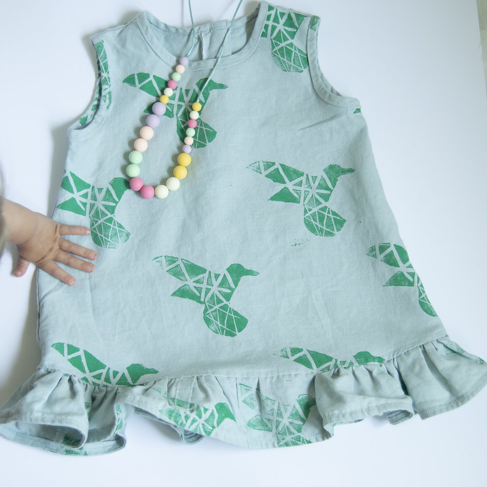 toddler dress from handprinted fabric