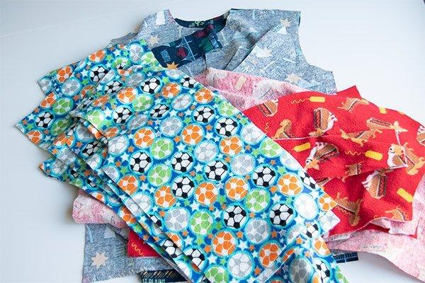 batch cut pile of pajamas