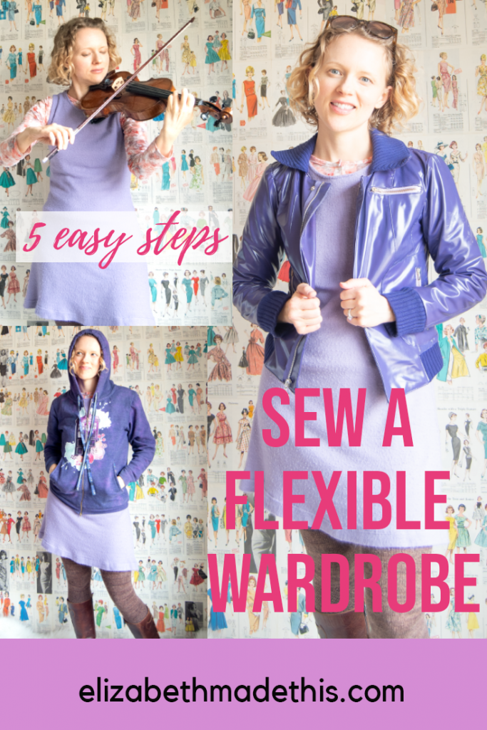flexible wardrobe example with one dress styled 3 ways