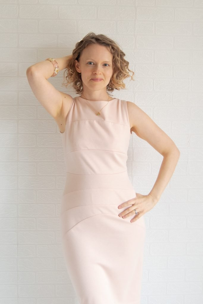 Burdastyle 9-2010-122 dress in blush ponte
