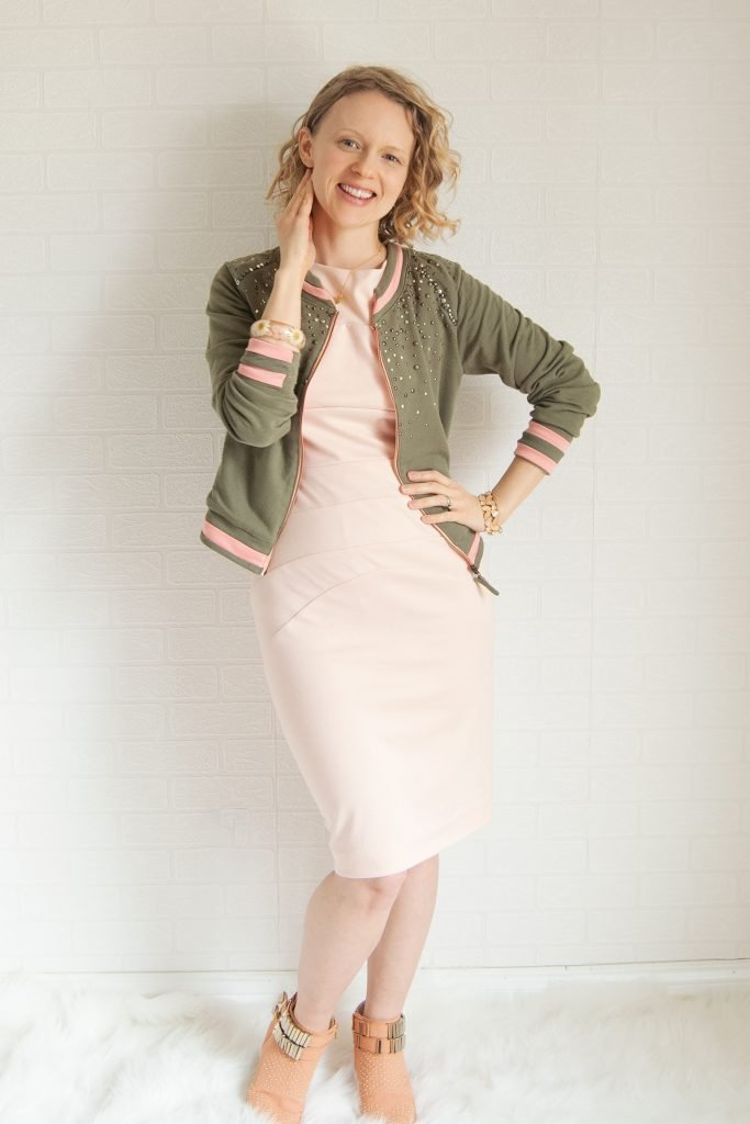 french terry bomber jacket refashion unzipped jacket with blush ponte dress and peach booties