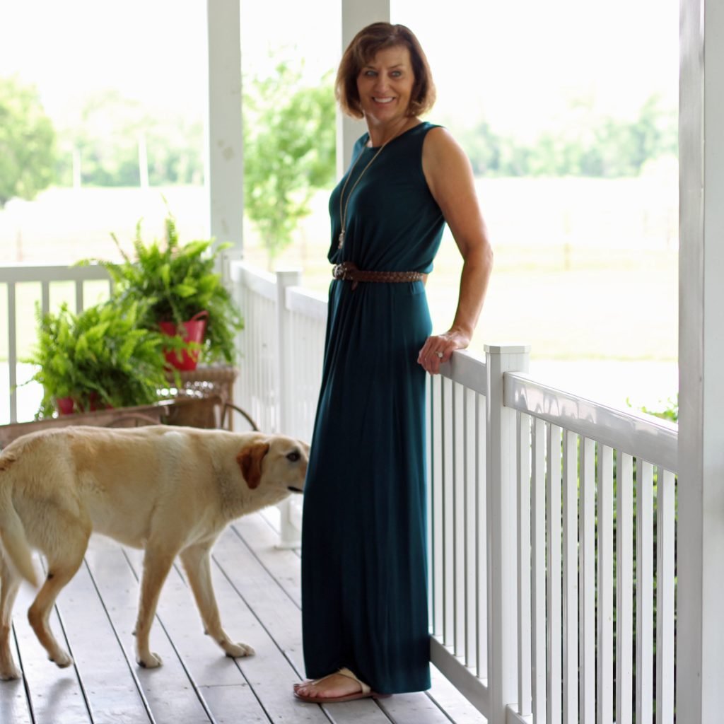 Butterick 6330 maxi dress with belt and dog