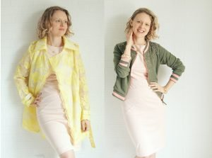 Burdastyle 9-2010-122 dress paired with embroidered organza trench coat and french terry bomber jacket refashion