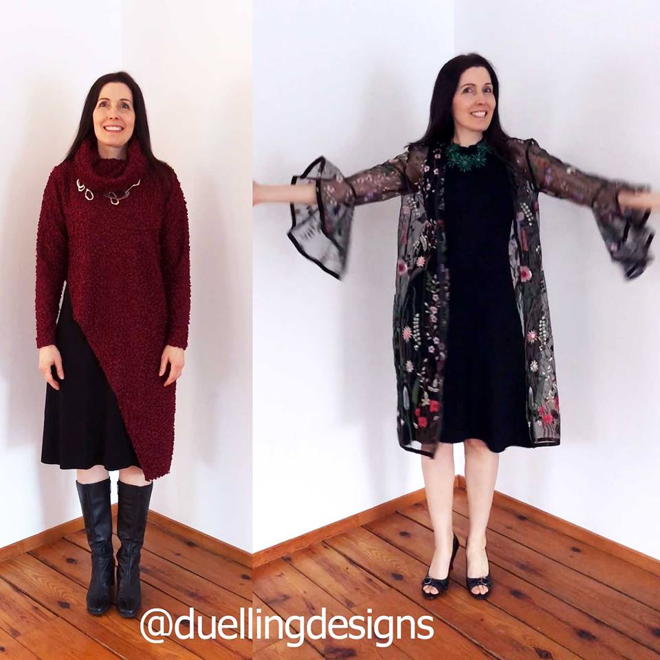 black sleeveless dress paired with oversweater and a sheer embroidered duster jacket