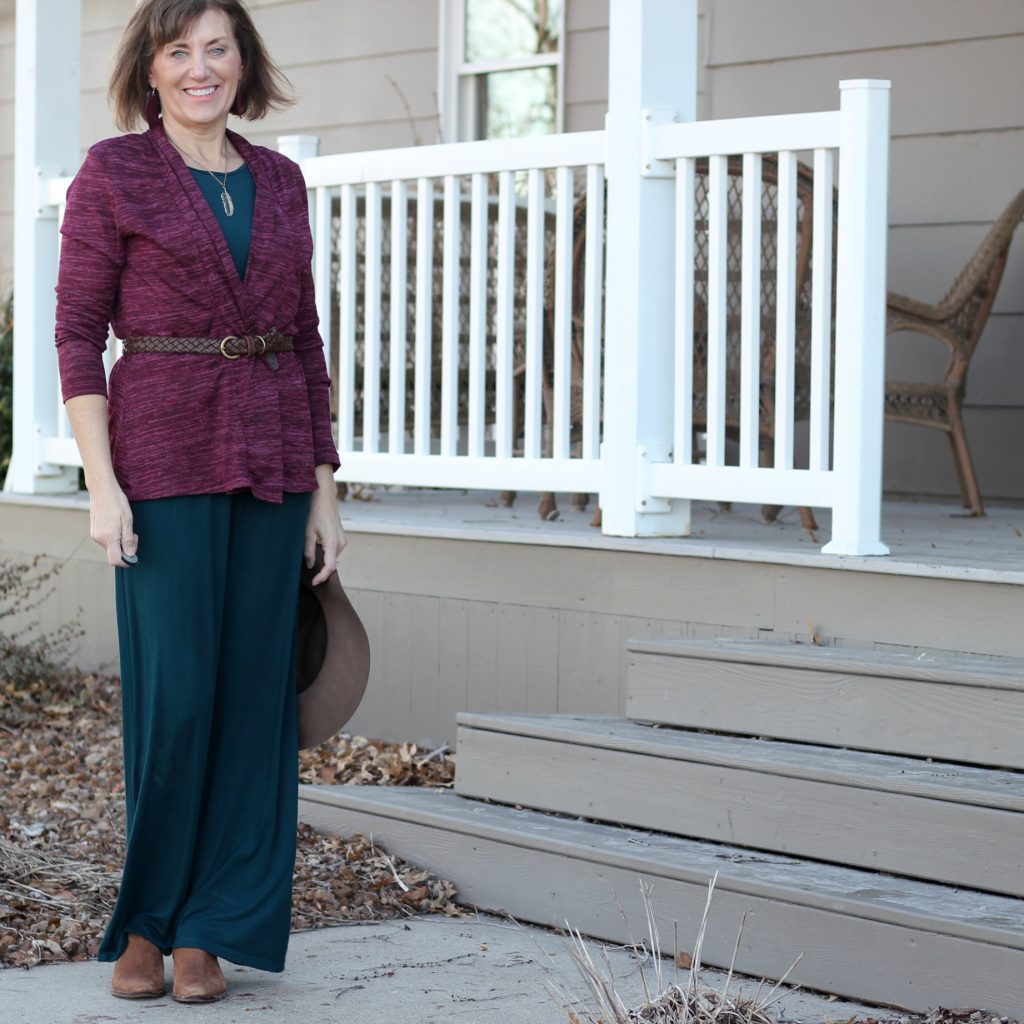 Butterick 6330 styled with leather booties, necklace, and belted cardigan