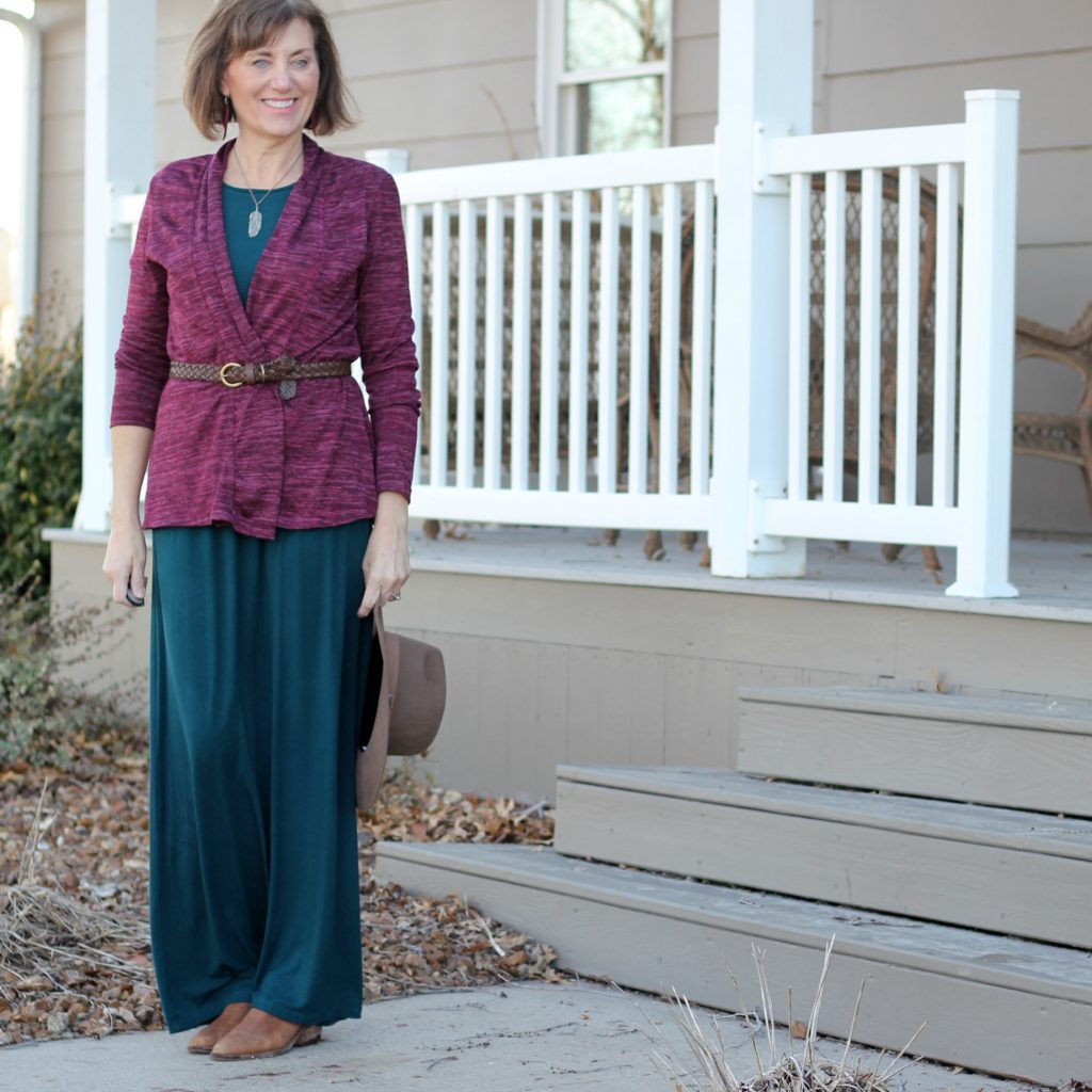 Butterick 6330 with belted cardigan and necklace