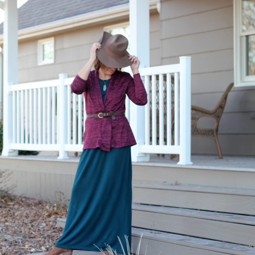 hat, belted cardigan with Butterick 6330 maxi dress