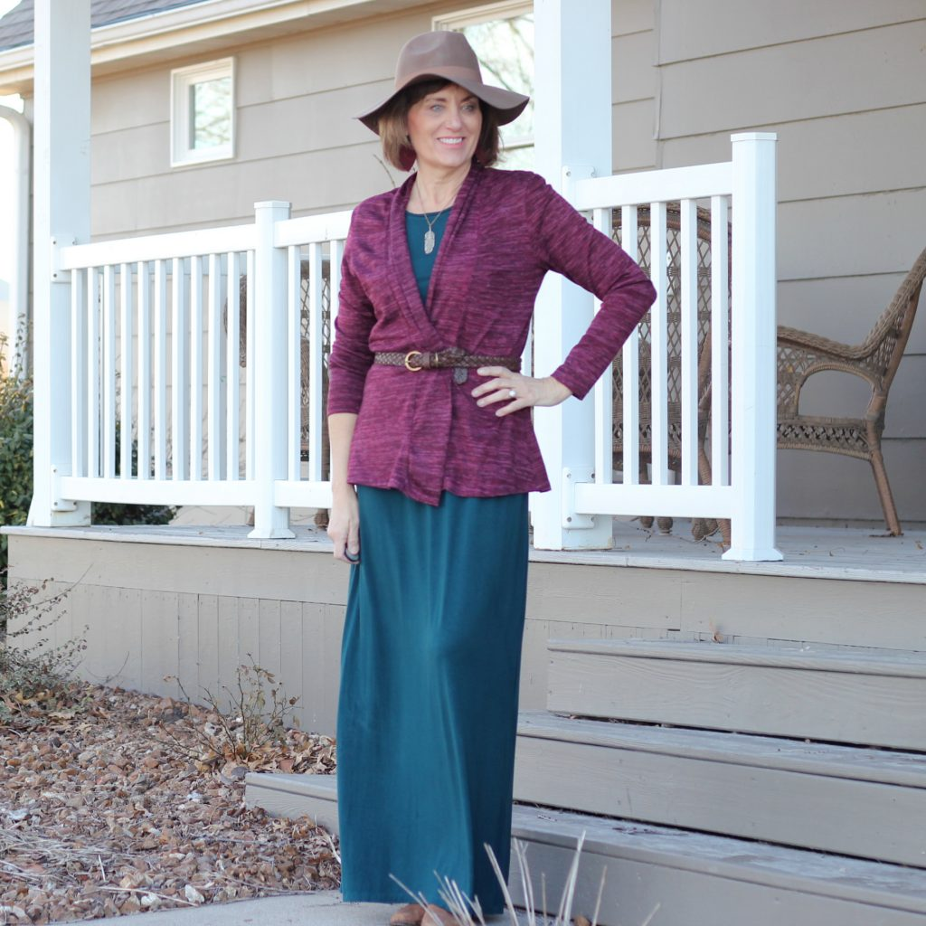 Butterick 6330 styled with necklace, hat, and belted cardigan