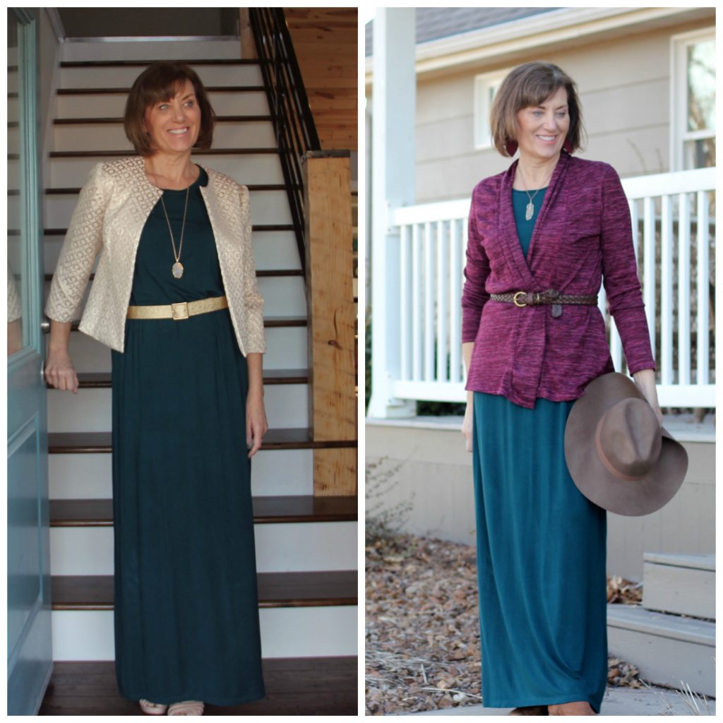 maxi dress with white jacket and maxi dress with belted cardigan and hat