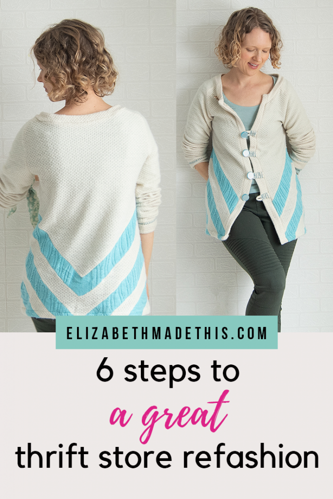 Pinterest image of a chevron upcycled sweater refashion