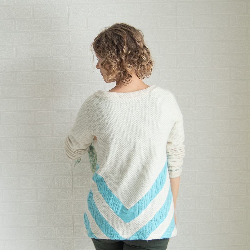 1fc76722b79 back of a thrift store refashion sweater chevron of cashmere knit stripes  in ivory sweater knit