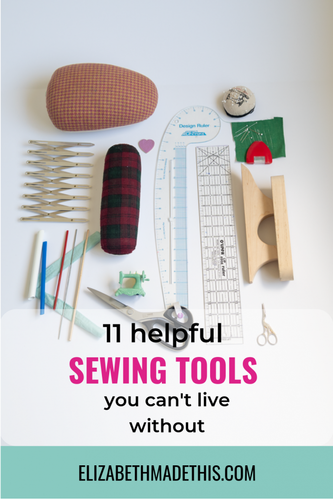 Pinterest image of 11 helpful sewing tools flatlay