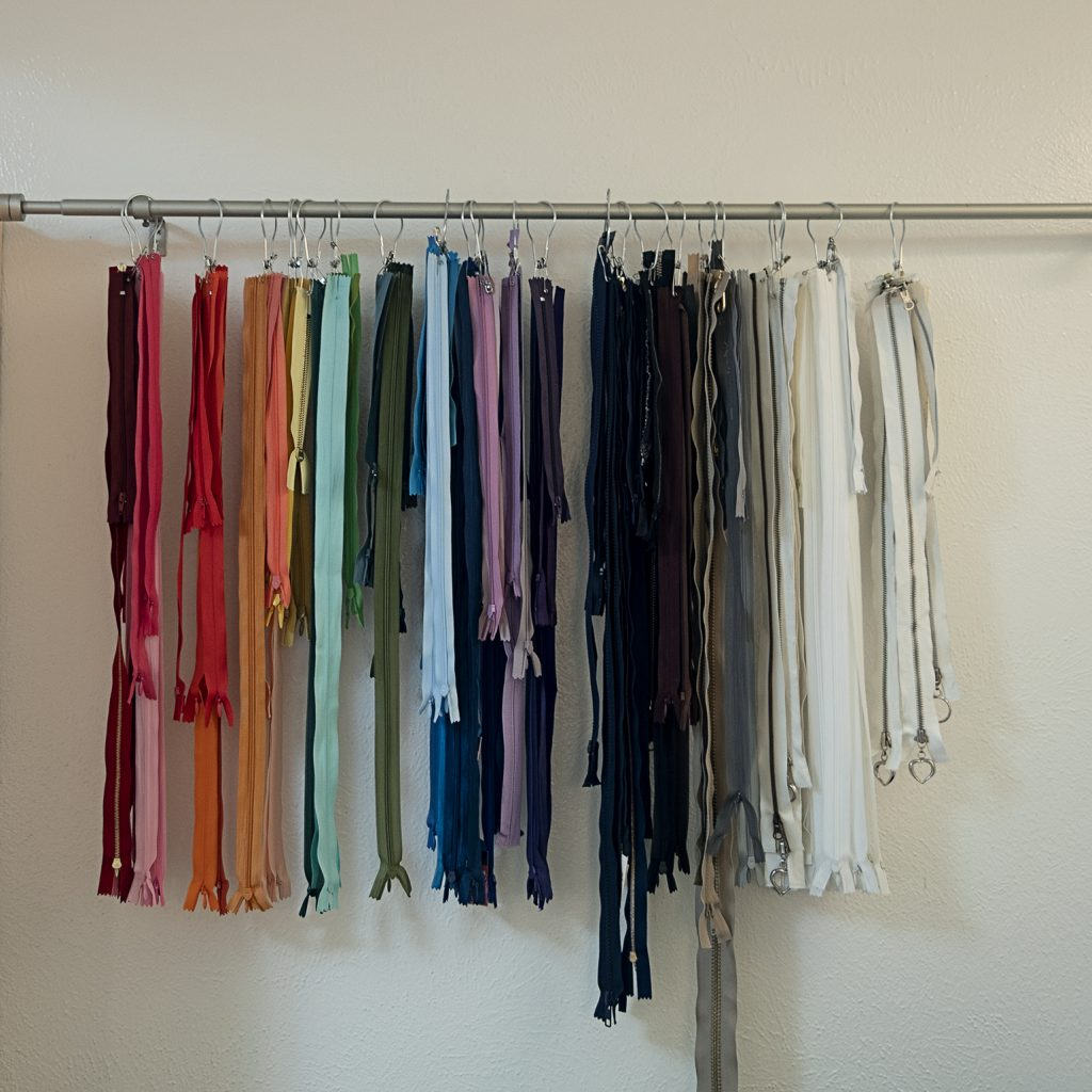 zippers hanging on a shower curtain rod