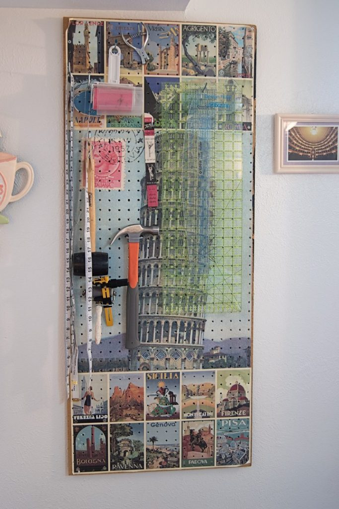 pegboard with sewing tools