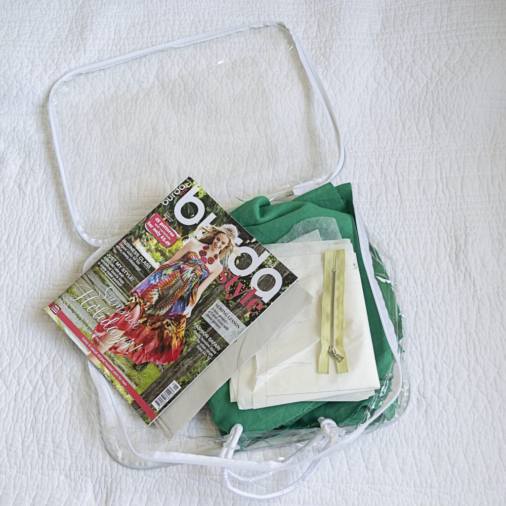 sewing project in clear bag