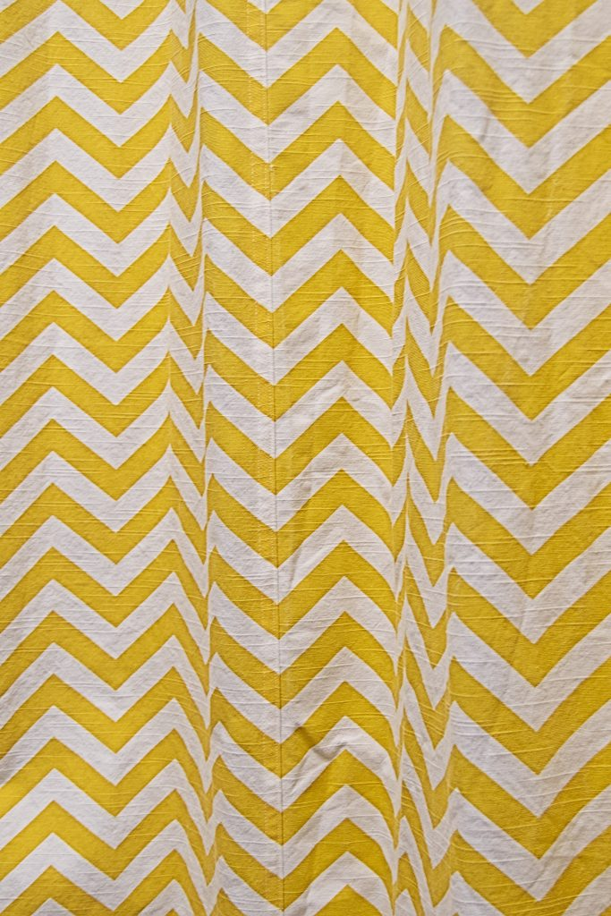chevron curtain made by sewing without pins