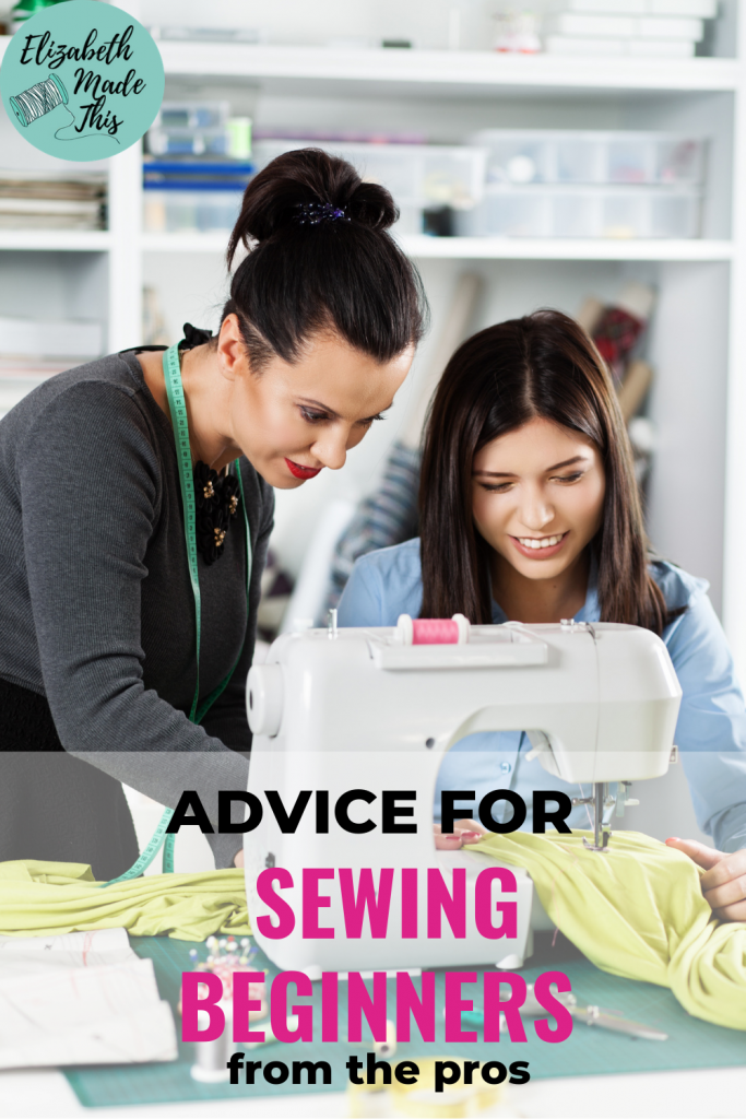 woman teaching another woman to sew with sewing machine