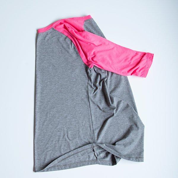 folding side seams together on a raglan t-shirt