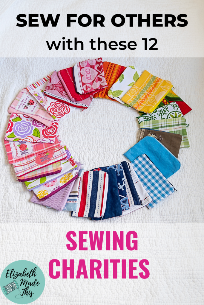 Pinterest image sewing for charity showing a circle of zipper bags